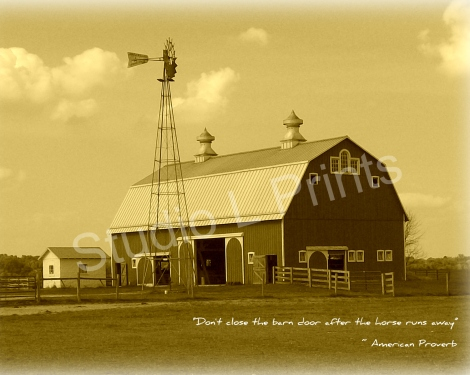 Sepia Barn with Proverb